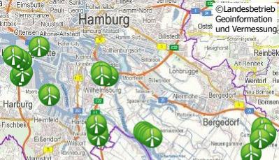 Karte zur Windenergie in Hamburg des Landesbetriebes Geoinformation und Vermessung